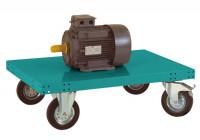 Schwerer Plattformwagen TRANSOMOBIL ohne Bügel und Stirnwand Wasserblau RAL 5021 / 1500 x 600