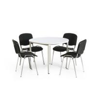 Sitzgruppe mit 4 oder 6 gepolsterten Stapelstühlen 4 gepolsterte Stapelstühle, Schwarz