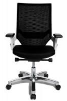 Bürodrehstuhl Miami Alu-poliert/Rahmen weiß / Schwarz