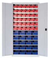Magazinschrank mit Sichtlagerkästen, HxBxT 1950 x 690 x 400 mm 20x Größe 4, 36x Größe 5 / Lichtgrau RAL 7035