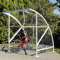 Fahrrad-Überdachungssystem aus transparentem Polycarbonat in topaktuellem Design Enzianblau RAL 5010 / 2090