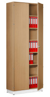 Modufix Flügeltüren-Büroschrank mit 6 Fachböden, HxBxT 2575 x 920 x 420 mm Buche hell / Buche hell