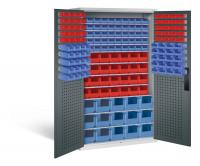 Großraumschrank mit 68 roten und 105 blauen Sichtlagerkästen, HxBxT 1950 x 1100 x 535 mm Lichtgrau RAL 7035 / Anthrazit RAL 7016