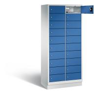 Zweireihiger, elektrifizierter Laptopschrank mit Sockel Lichtgrau / Enzianblau