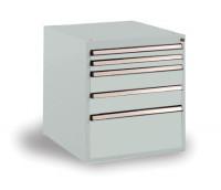Schubfachschrank BASETEC stationär, 2 x 50, 2 x 100, 1 x 200 mm Lichtgrau RAL 7035