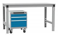 Schubfachschrank BASETEC mobil, 2x 100, 1x 200 mm Lichtgrau RAL 7035 / Brillantblau RAL 5007