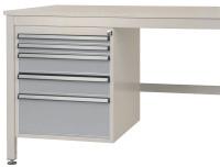 Schubfach-Unterbauten CANTOLAB, stationär, 2 x 50 , 2 x 100 , 1 x 200 mm Alusilber ähnlich RAL 9006 / 1000