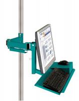Monitorträger mit Tastatur- und Mausfläche leitfähig 75 / Wasserblau RAL 5021