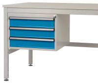 Schubfach-Unterbauten CANTOLAB, mobil, 3 x 100 mm Lichtblau RAL 5012 / 1000