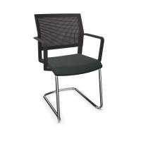 Design-Besucherstuhl, Freischwinger mit Armlehnen Stoffpolster / Orange