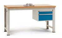 Komplett-Angebot Werkbank PROFI Modell 1, Platte Multiplex geölt 40 mm 1500 / Lichtgrau RAL 7035