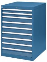 Schubfachschrank MAXTEC stationär, 2 x 75 , 6 x 100 , 1 x 150 mm Vollauszug 100%, 180 kg / Enzianblau RAL 5010
