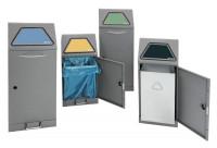 System-Sammelbehälter mit Pedal-Einwurfklappe Verzinkter Innenbehälter / 120