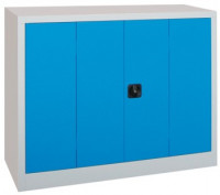 Büro-Falttürenschrank mit verzinkten Böden, HxB 1000 x 1200 mm 600 / Tiefschwarz RAL 9005