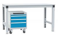 Schubfachschrank BASETEC mobil, 1 x 50 , 2 x 100 , 1 x 150 Lichtblau RAL 5012