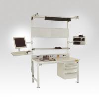 Schubfach-Unterbauten CANTOLAB leitfähig, 3x100, 1x200 mm Resedagrün RAL 6011