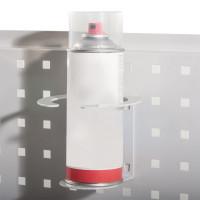 Flaschenhalter zur Steckbefestigung an Seitenblende oder Lochplatte/Lochblech