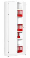 Modufix Flügeltüren-Büroschrank mit 6 Fachböden, HxBxT 2575 x 920 x 420 mm Weiß / Weiß