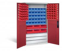 Großraumschrank mit Schubladenblock, 62 rote & 35 blaue Sichtlagerkästen, HxBxT 1950x1100x535 mm Lichtgrau RAL 7035 / Rubinrot RAL 3003