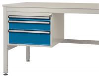 Schubfach-Unterbauten CANTOLAB, mobil, 1 x 50 , 1 x 100 , 1 x 150 mm 1000 / Wasserblau RAL 5021