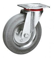 Lenkrolle auf Vollgummi-Bereifung 100 / Stahlblech