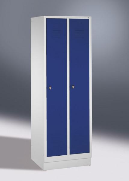 Garderobenschrank, die Klassischen, Abteilbreite 300 mm, 2 Abteile, mit Füßen