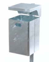 Abfallbehälter mit Abdeckhaube, 50 Liter Verzinkt / Verzinkt