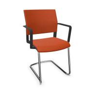 Design-Besucherstuhl, Freischwinger mit Armlehnen Orange / Stoffpolster
