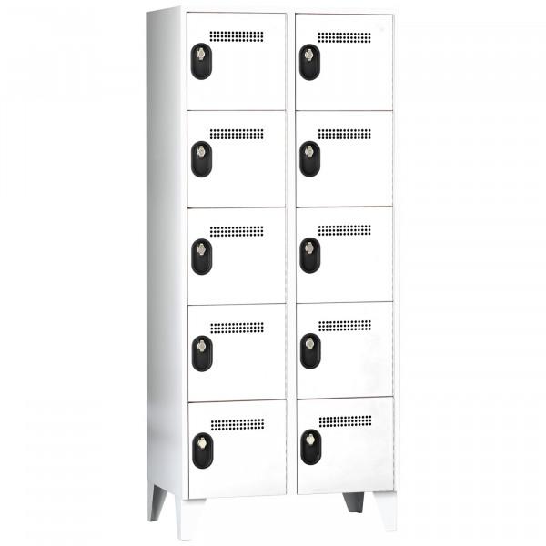 Schließfachschrank - Serie 90, 2x5 Fächer, HxBxT 1850 x 800 x 500 mm, Abteilbreite 400 mm
