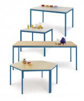 uniDesk Colors Ahorn Dekor 25 mm mit Wunschfarbe, 1400 x 700 x 725 mm, Trapeztisch lichtgrau / graug Buche / Brillantblau RAL 5007