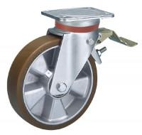 Lenkrolle mit Doppelstopp auf Polyurethan-Bereifung 100 / Aluminium