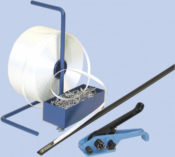 Kraftspanner für Umreifungsset mit tragbarem Bandabroller