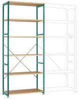 Schwere Holzfachboden Grundregale PLANAFIX Premium, Höhe 2500 mm, einseitige Nutzung 500 / Graugrün HF 0001