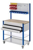 Mobile Arbeitsstation mit Schlitzplatte Enzianblau RAL 5010