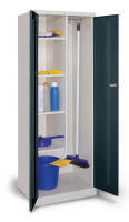 Putzmittelschrank mit glatten Türen Tiefschwarz RAL 9005