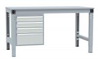 Schubfach-Unterbauten MULTIPLAN, stationär, 3x100, 1x200 mm Lichtgrau RAL 7035 / 700