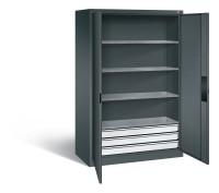 C+P Werkzeugschrank für schwere Lasten mit Schubladenblock, HxBxT 1950 x 1200 x 600 mm, Korpus Anthr 4 / 1200 / Anthrazit RAL 7016