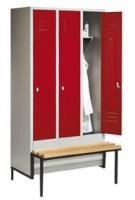 C+P Garderobenschrank, die Klassischen, mit tiefergelegter Sitzbank, Abteilbreite 300 mm, 5 Abteile Lichtgrau RAL 7035 / Lichtgrau RAL 7035