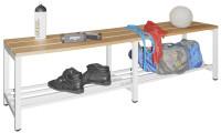 Sitzbank mit Buchenleisten und Schuhrost Lichtgrau RAL 7035 / 1000