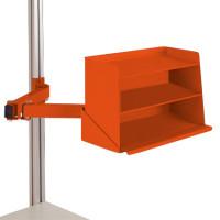 Sichtboxen-Regal-Halter-Element Rotorange RAL 2001 / Doppelgelenk