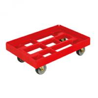 Kasten-Roller für Euro-Normkästen, L x B 810 x 610 mm, Tragkraft 300 kg Rot / 2 Lenk-, 2 Bockrollen