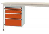 Schubfach-Unterbauten BASIS, stationär, 1 x 50 , 1 x 100 , 1 x 150 , 1 x 200 mm Rotorange RAL 2001