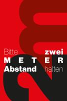 """Schmutzfangmatte """"Bitte 2 m Abstand halten"""" mit rotem Hintergrund, Hochformat Design 2"""