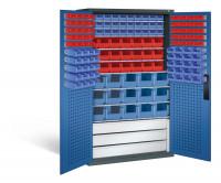 Großraumschrank mit Schubladenblock, 61 rote & 85 blaue Sichtlagerkästen, HxBxT 1950x1100x535 mm Anthrazit RAL 7016 / Enzianblau RAL 5010