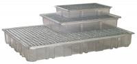 Kunststoff-Auffangwannen für Kleingebinde, aus PET-G (transparent) Mit Gitterrost / 120