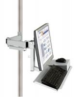 Monitorträger mit Tastatur- und Mausfläche Lichtgrau RAL 7035 / 75