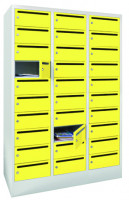 Postverteilerschrank, Abteilbreite 400 mm, 30 Fächer Lichtgrau RAL 7035 / Himmelblau RAL 5015