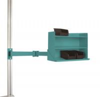 Sichtboxen-Regal-Halter-Element leitfähig Doppelgelenk / Wasserblau RAL 5021