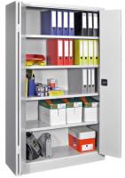 Büro-Falttürenschrank mit lackierten Böden, HxB 1950 x 1500 mm 600 / Reinorange RAL 2004