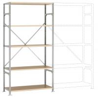 Leichte Fachboden Grundregale PLANAFIX Standard mit Holzböden, einseitige Nutzung 600 / 2000